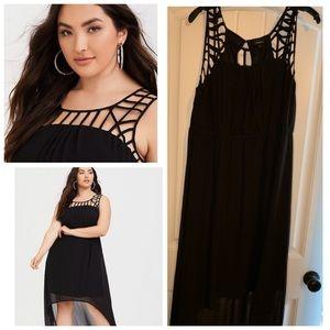 Caged neckline dress